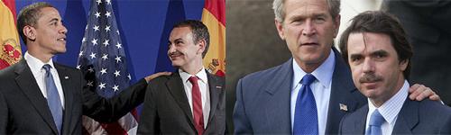 Obama y Zapatero en Praga (2009) - Bush y Aznar en las Azores (2003)